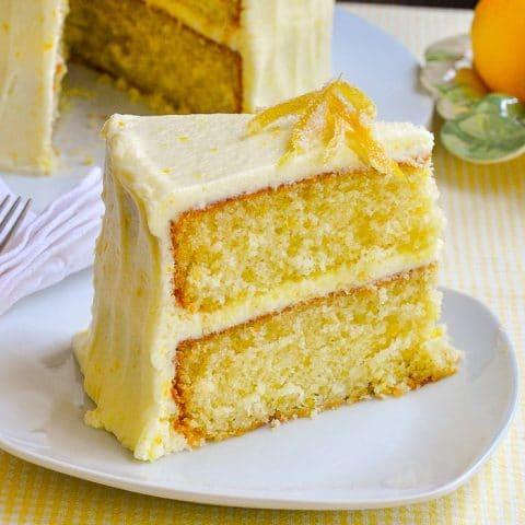 Lemon Velvet Cake phot0 of finished uncut cake