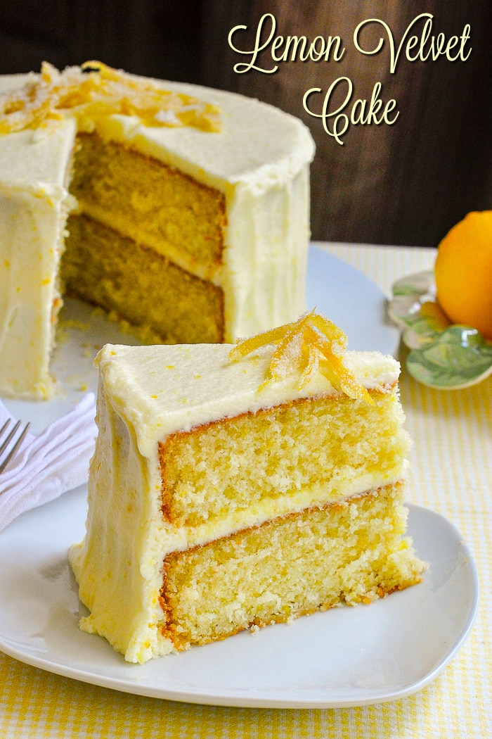 Lemon Velvet Cake photo with title text for Pinterest