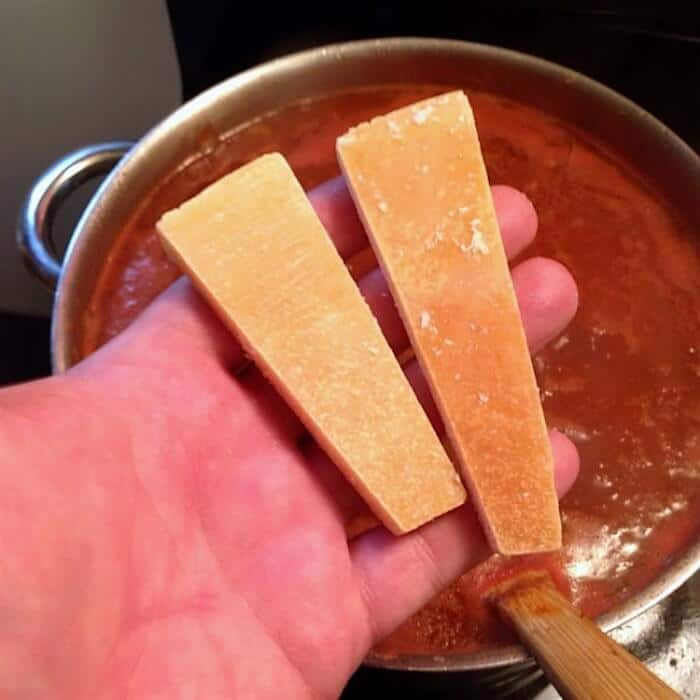 Parmesan Rinds for the best bolognese sauce
