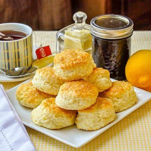 Sour Cream Lemon Scones on serving plate