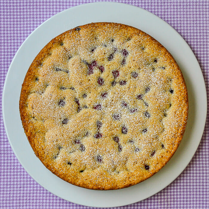 Sunken Grape Almond Cake overhead view