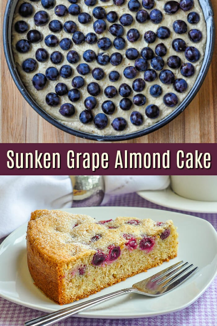Sunken Grape Almond Cake photo with title text for Pinterest