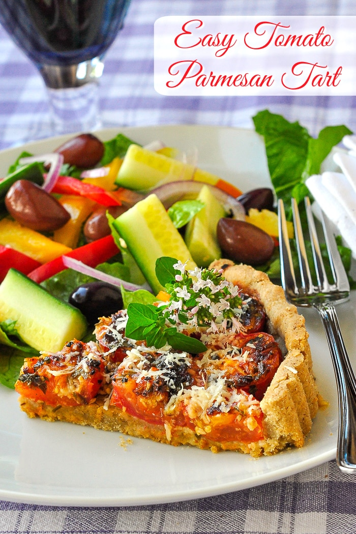 Tomato Parmesan Tart photo of one slice with title text added for Pinterest