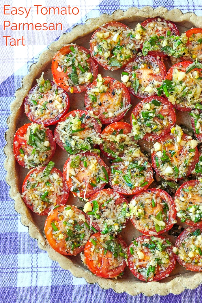 Tomato parmesan tart photo of unbaked tart with totle text added for Pintertest