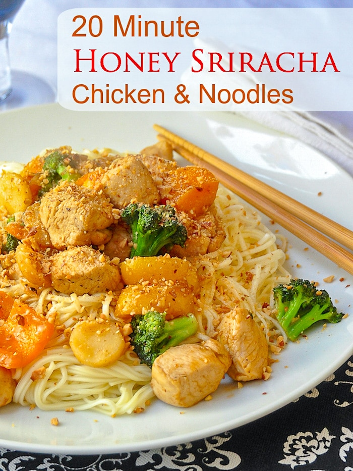 20 Minute Honey Sriracha Chicken and Noodles photo with title text for Pinterest