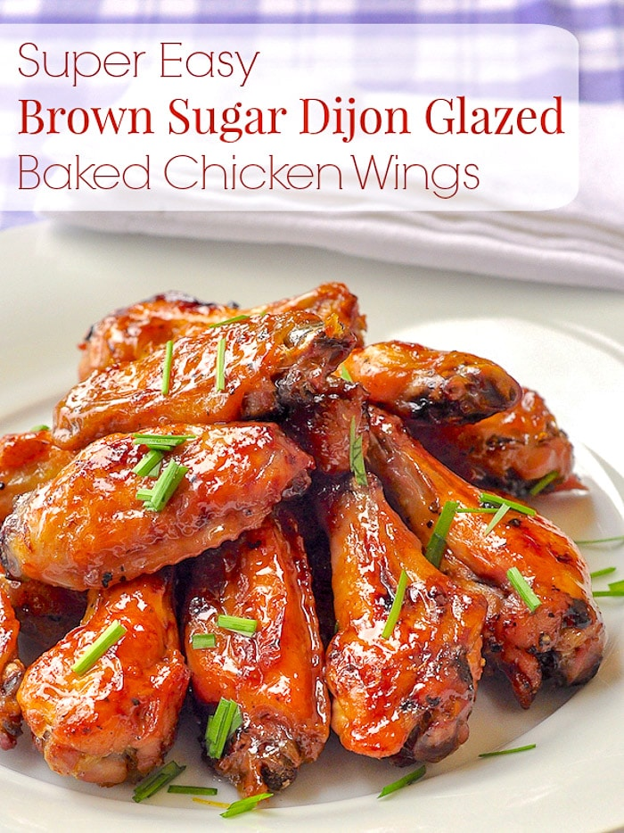 Brown Sugar Dijon Chicken Wings photo with title text for Pinterest