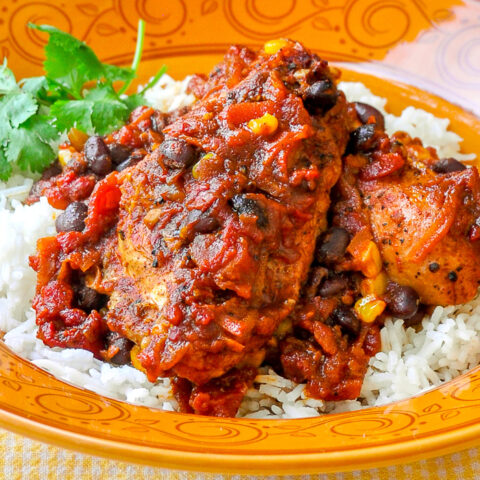 Chicken with Black Bean Chipotle Chili and Rice close up photo in an orange pattered bowl