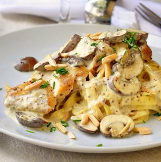 NEW VIDEO RECIPE: Dijon Chicken Linguine with Crimini Mushrooms and Toasted Almonds