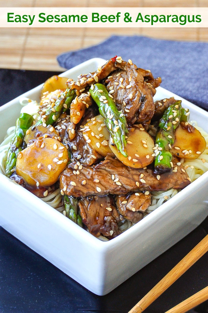 Easy Sesame Beef and Asparagus photo with title text for Pinterest