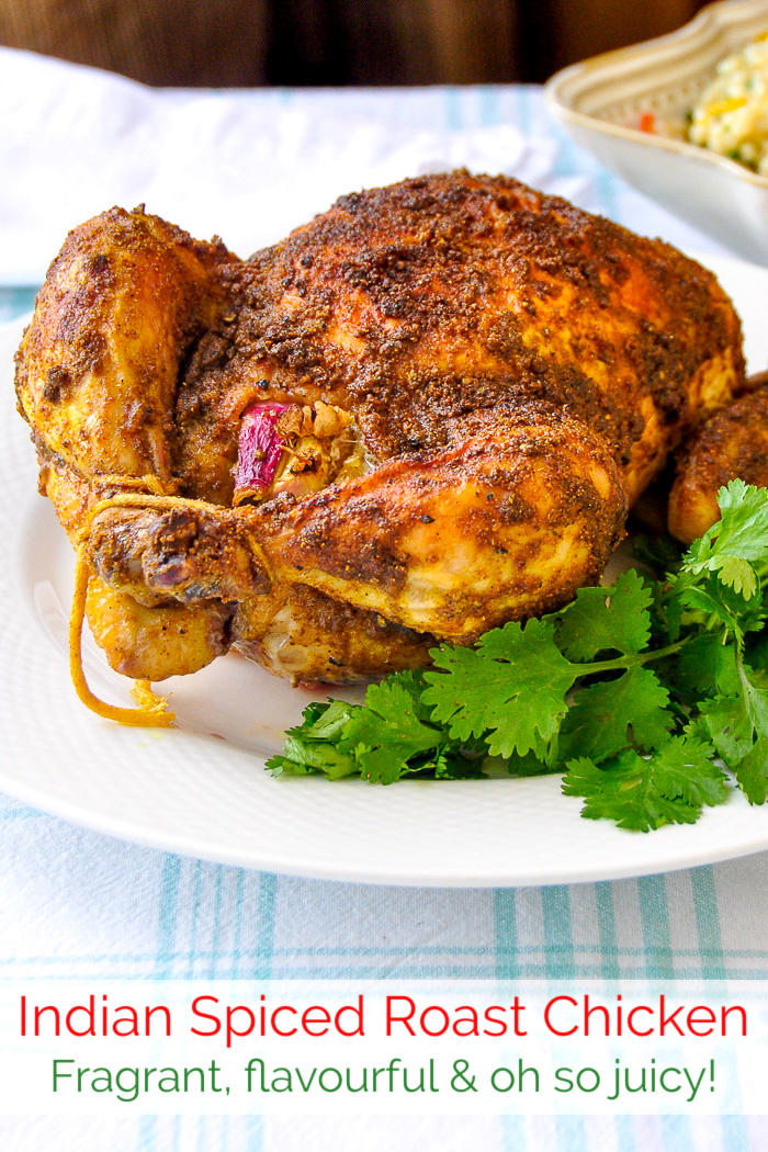 Indian Spiced Roast Chicken photo with title text added for Pinterest
