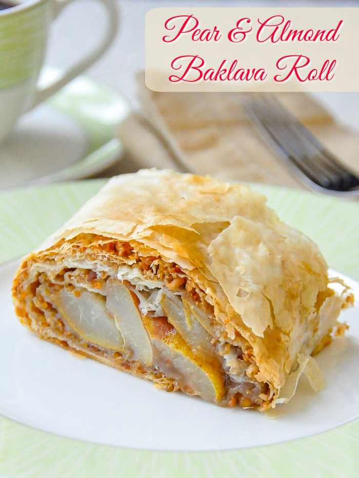 Pear Almond Baklava Roll photo of single serving with title text added for Pinterest