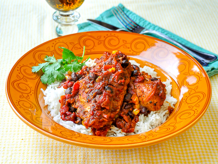 Photo of a single serving of Chicken with Black Bean Chipotle Chili and Rice