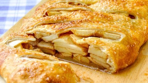 Shortcut Apple Strudel cut to show the cooked apples inside