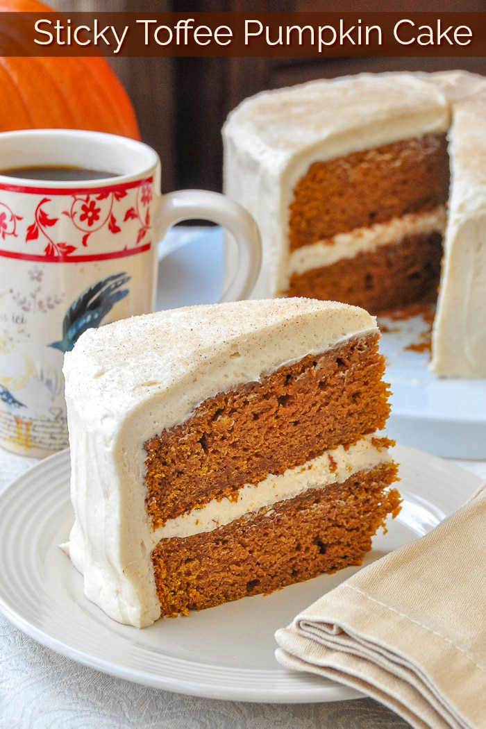 Sticky Toffee Pumpkin Cake photo with title text for Pinterest