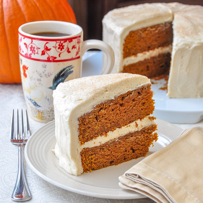 Sticky Toffee Pumpkin Cake square image of cake and slice for featured image