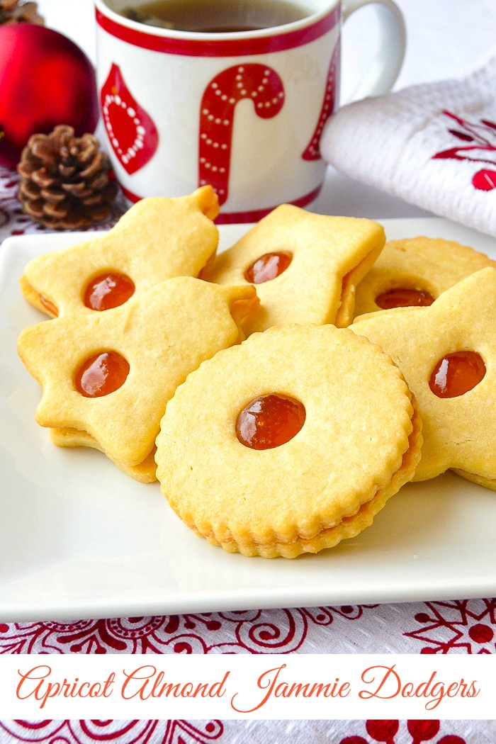 Apricot Almond Jammie Dodgers photo with title text added for Pinterest