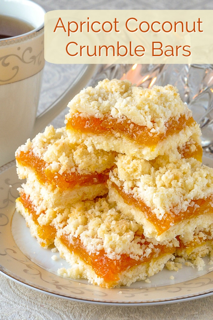 Apricot Coconut Crumble Bars image with title text for Pinterest