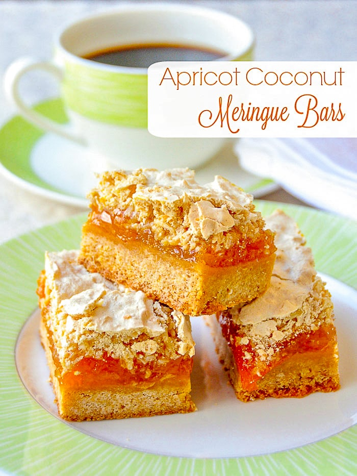 Apricot Coconut Meringue Bars photo with title text for Pinterest