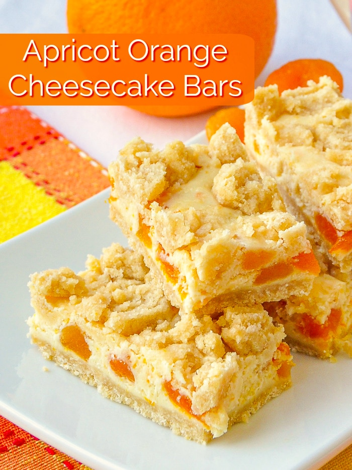 Apricot Orange Cheesecake Bars photo with title text added for Pinterest