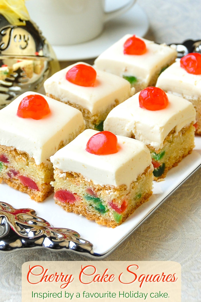 Cherry Cake Squares photo od cookie bars with title text added for Pinterest