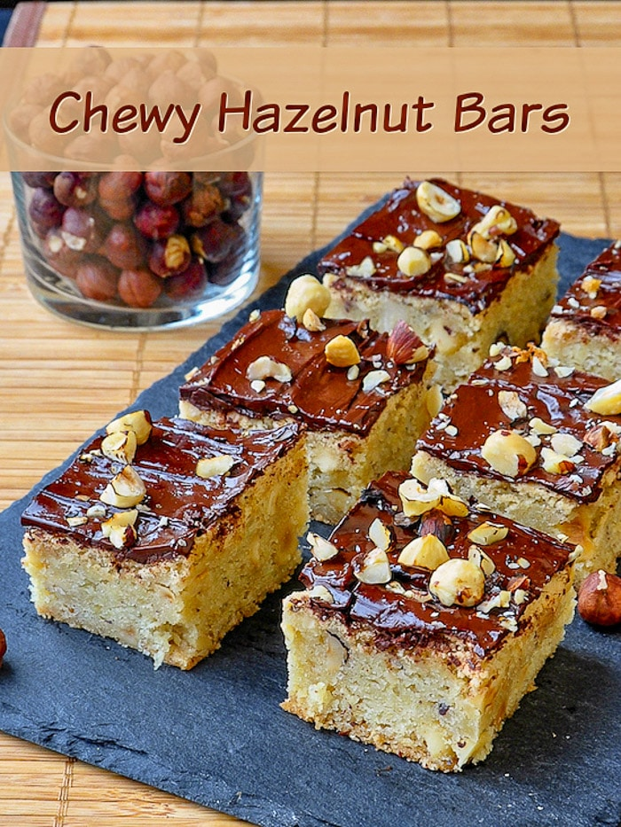 Chewy Hazelnut Bars image with title text for Pinterest.