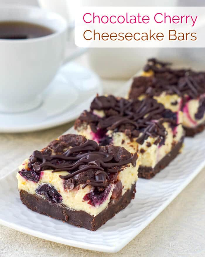 Chocolate Cherry Cheesecake Bars image with title text