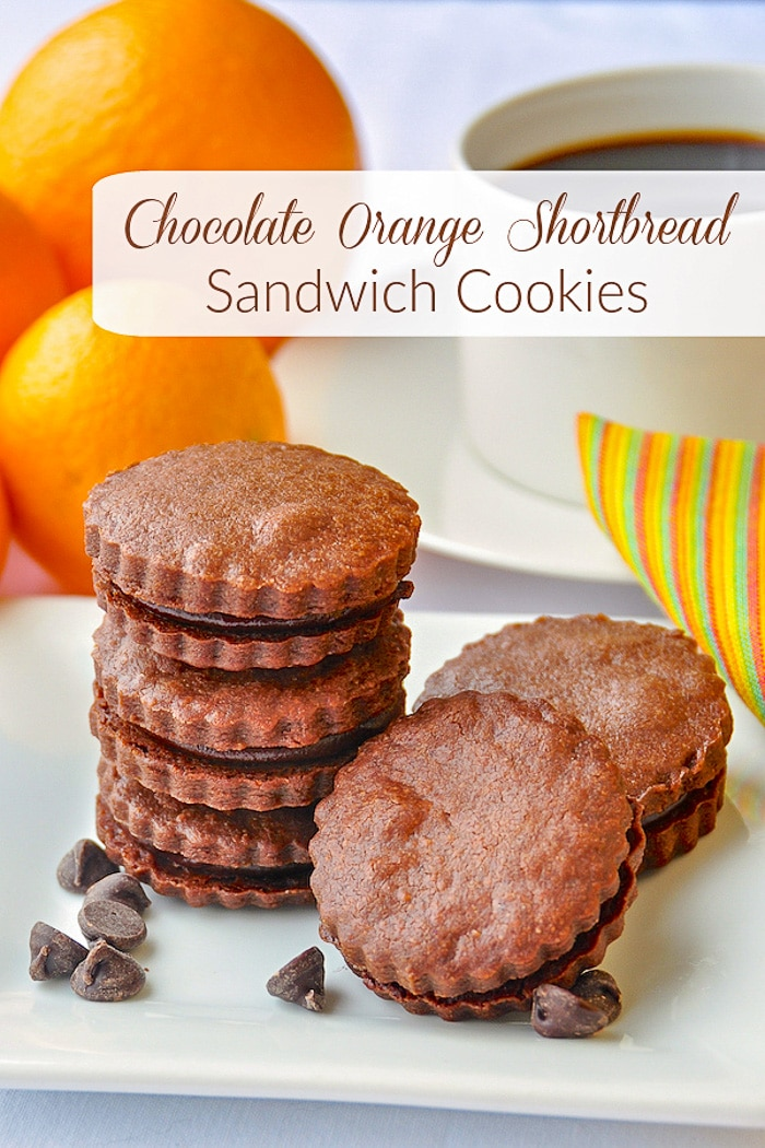 Chocolate Orange Shortbread Sandwich Cookies image with title text for Pinterest