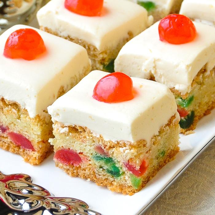 Close up photo of cherry cake squares
