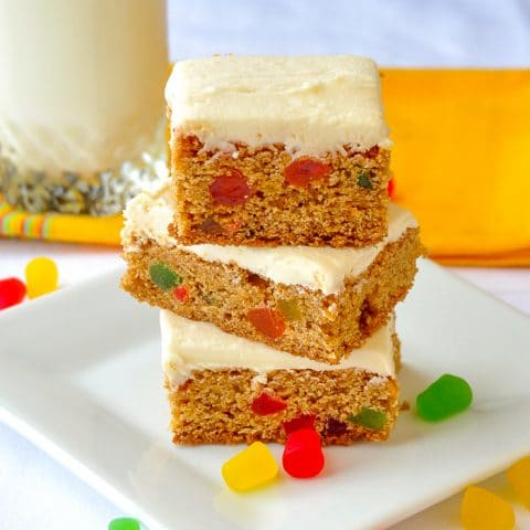 Easy Gumdrop Bars stacked on white plate surrounded by baking gums