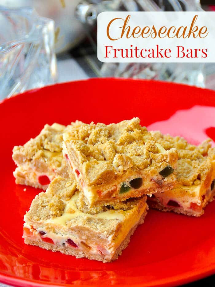 Fruitcake Cheesecake Bars