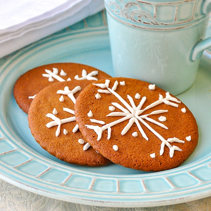 Ginger Snaps with snowflake design decoration
