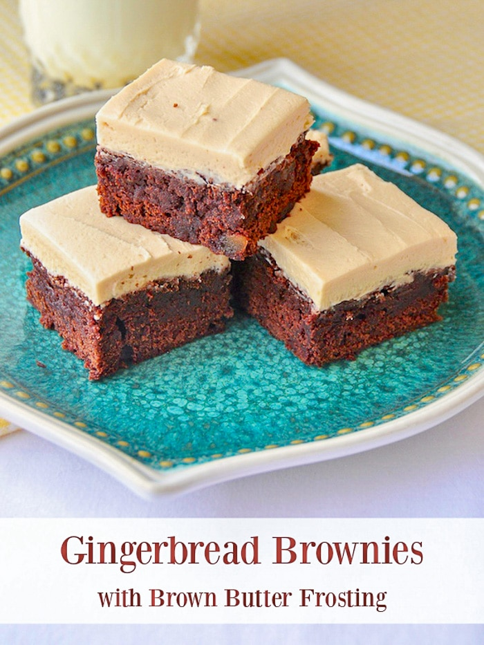 Gingerbread Brownies with Brown Butter Frosting photo with title text for Pinterest