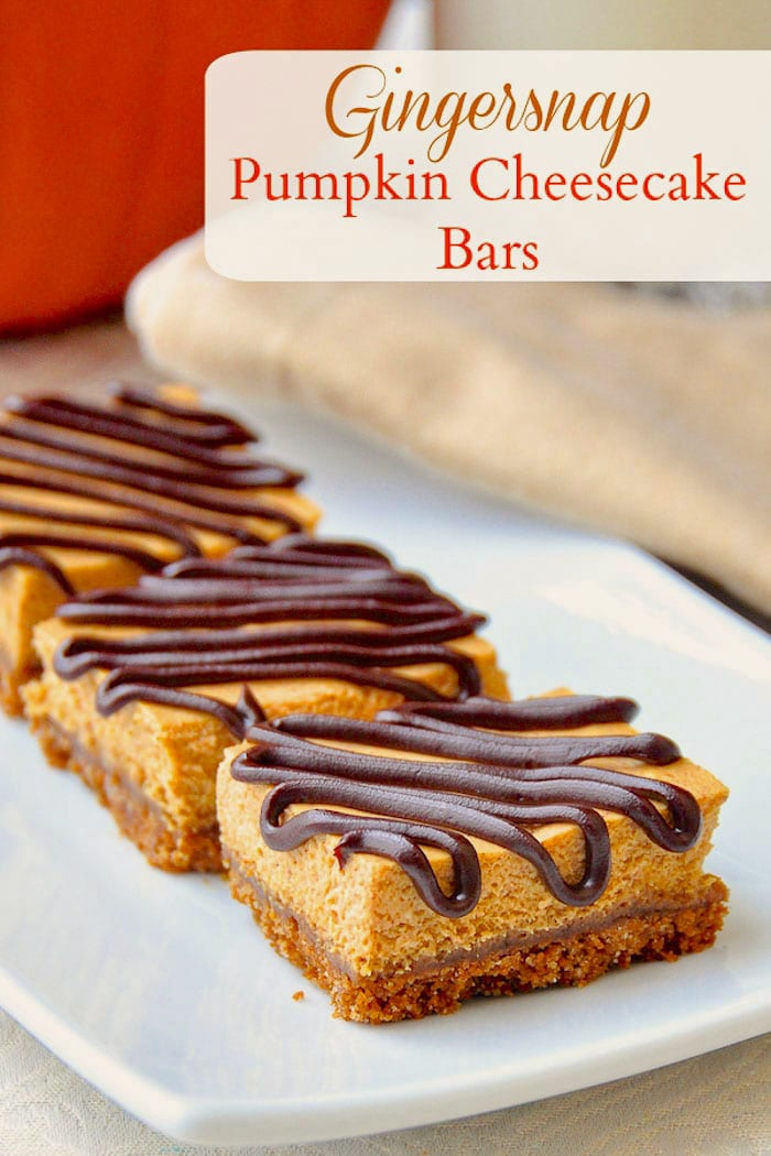 Gingersnap Pumpkin Cheesecake Bars photo with title text for Pinterest