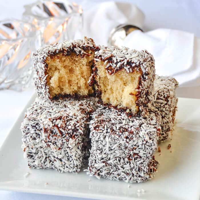 Lamingtons. An aunsralian favourite with chocolate and coconut surrounding homemade white cake.