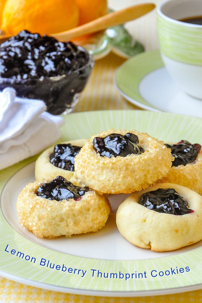 Lemon Blueberry Thumbprint Cookies photo with title text for Pinterest