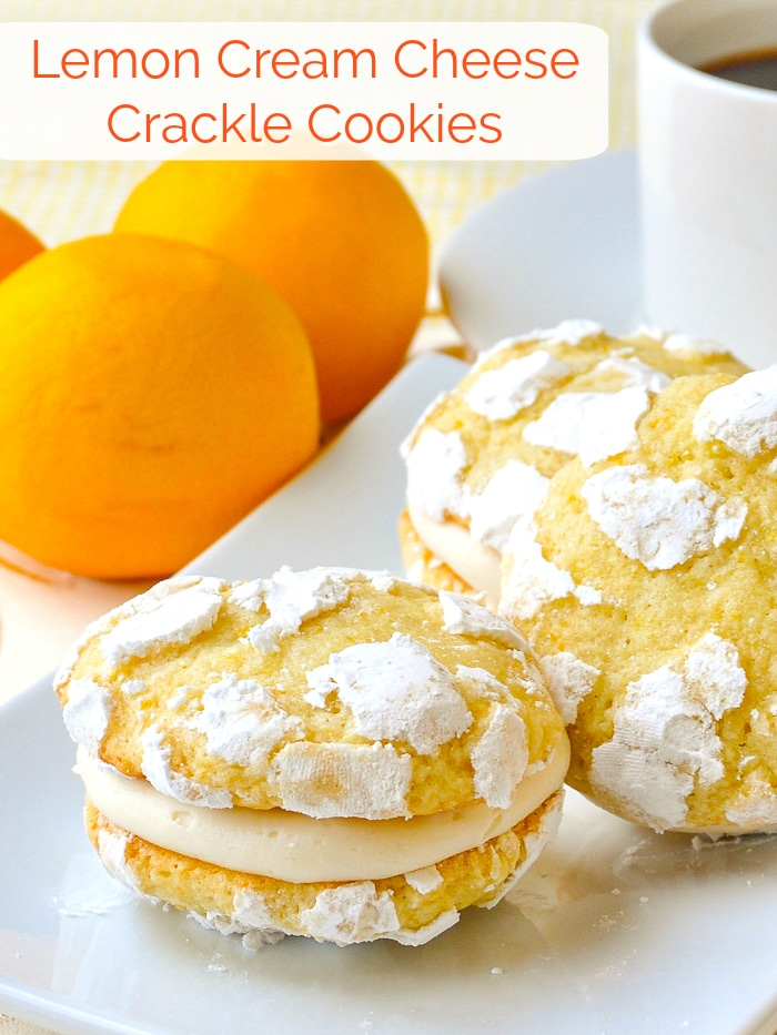 Lemon Cream Cheese Crackle Cookies photo with title text for Pinterest