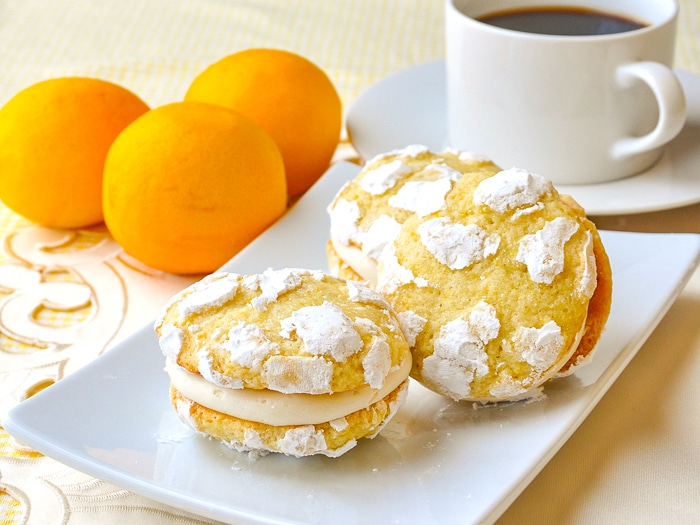 Lemon Cream Cheese Crackle Cookies  shown with coffee in background
