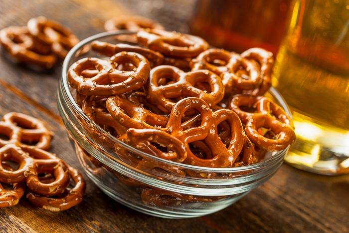 mini pretzels in a clear glass bowl.