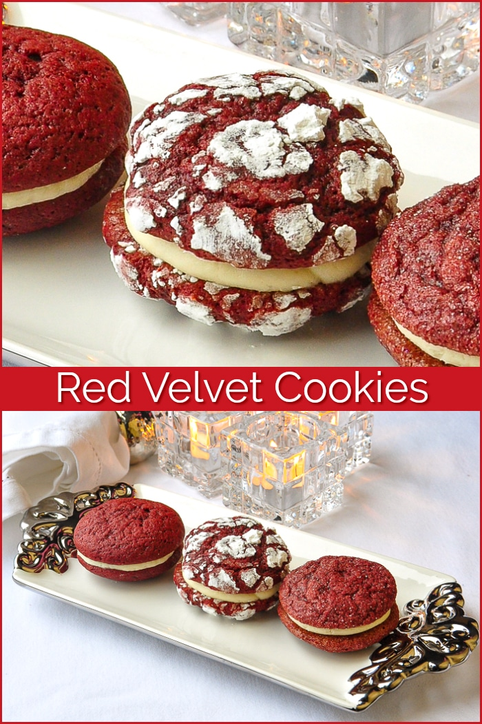 Red Velvet Cookies photo collage with title text added for Pinterest