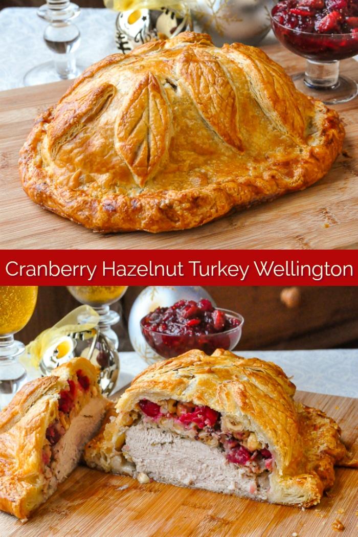 Cranberry Hazelnut Turkey Wellington photo collage with title text for Pinterest