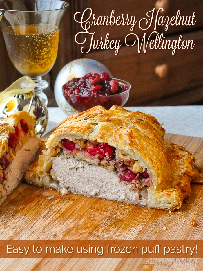 Cranberry Hazelnut Turkey Wellington photo with title text for Pinterest