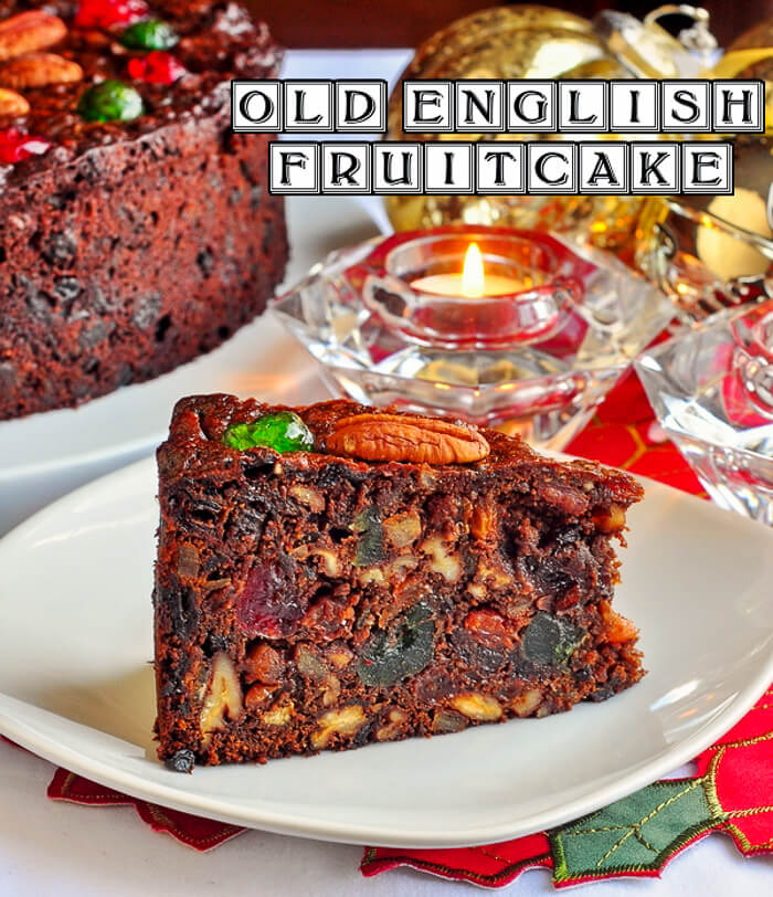 Old English Fruitcake slice image with title text