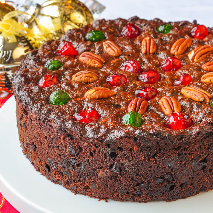 British Christmas Cake.Old English Dark Fruit Cake