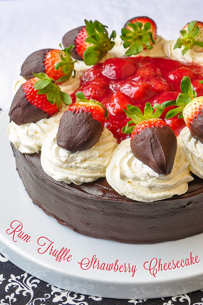 Rum Truffle Strawberry Cheesecake photo with title text for Pinterest