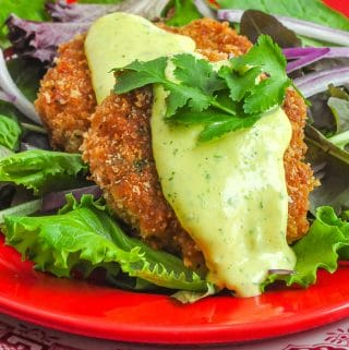 Shrimp Cakes with lime aioli photo close up photo of 2 shrimp cakes on a bed of greens