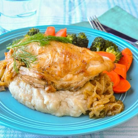 Braised Onion Fennel Chicken with Brown Butter and Roasted Garlic Mashed Potatoes
