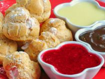 Raspberry Cream Profiteroles with 3 dipping sauces.