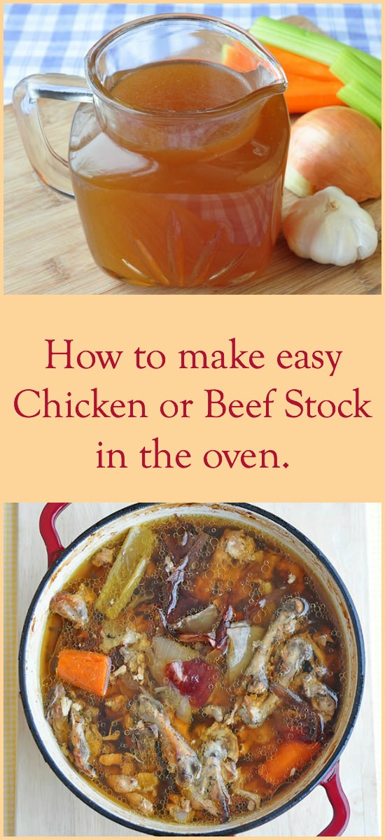 How to make chicken stock or beef stock in the oven. How to save time & money while making the best stock for soup, stew and gravy.