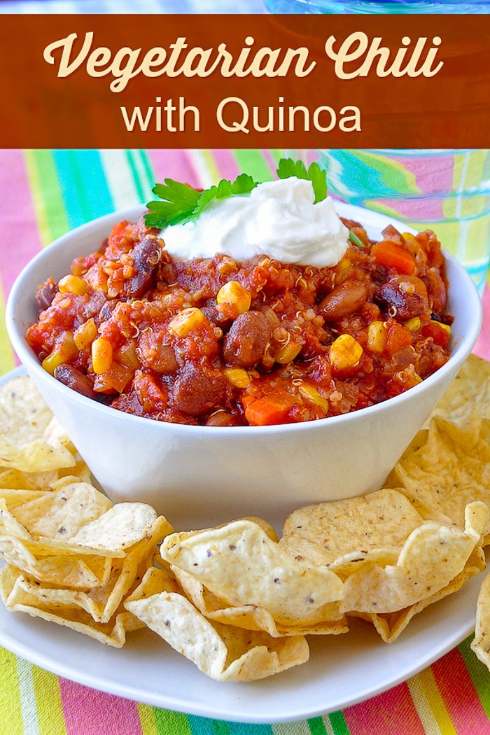 Quinoa Vegetarian Chili image with title text for Pinterest.