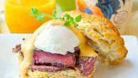 Steak & Eggs Benedict with Brown Butter Sriracha Hollandaise Sauce